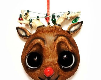 Reindeer Ornament, Christmas Ornaments, Funny Christmas Ornament, Red Nose