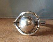 Saturn MODERNIST STERLING Silver Ring Size 8 9 Adjustable Round Dome Artsy