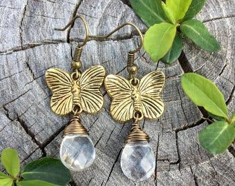 Gold Butterflies . Clear Faceted Glass Teardrops . Earrings