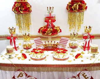 red and gold royal prince baby shower theme and decorations