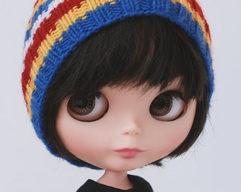 White meets yellow, red and blue -  knitted Blythe hat