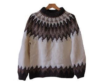 Vintage Fair Isle Wool Sweater Cream & Brown Jeff Mangum Size Small