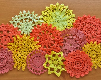 12 Orange and Yellow Hand Dyed Vintage Crochet Doilies, Colorful Crochet Mandalas, Orange and Yellow Medallions