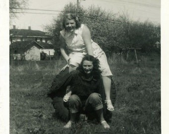 "Vintage Photo ""Goofy Tire Cousins"" Snapshot Antique Photo Old Black & White Photograph Found Paper Ephemera Vernacular - 60"