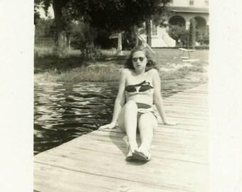 "Vintage Photo ""Sunbathing Beauty"" Snapshot Antique Photo Old Black & White Photograph Found Paper Ephemera Vernacular - 73"