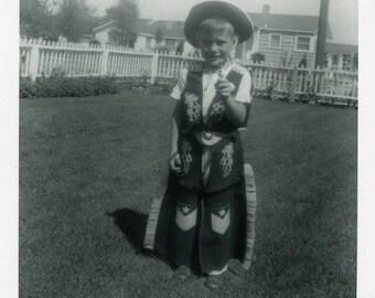 "Vintage Photo ""New Sheriff in Town"" Toy Gun Costume Snapshot Photo Antique Black & White Photograph Found Paper Ephemera Vernacular - 164"