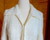 Chanel-Style Winter White Tweed Wool Overcoat with Purple Paisley Silk Lining Spooner Prague Size 4