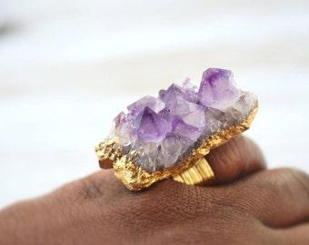 Amethyst Ring, Raw Crystal Ring, Statement Ring, Quartz Jewelry,  Druzy Ring