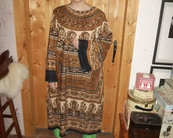 Celtic tunic in brown and black India cotton