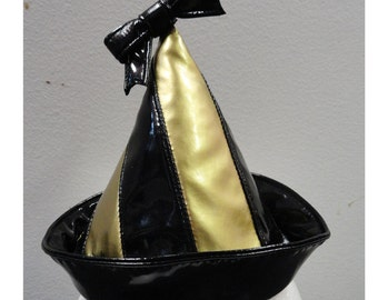 Black/Gold Striped PVC party hat w/ bow from Artifice Clothing