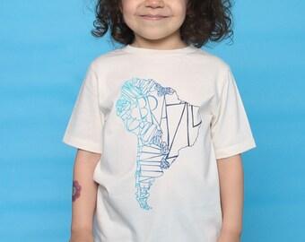 South America Organic Kids Map Tee - Summer Camp Toddler Top - Beach Tshirt for Kids - Summer Tee - Travel Top for Children - Globetrotter