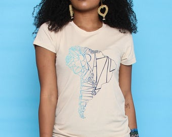 South America Organic Map Tee - Traveller Fashion Top - Ethical Fashionista Nude T-shirt - Wanderlust Top - Fashion Blogger Tee - Festival