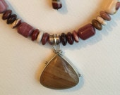 Desert Sunset Mookite and Jasper Necklace and Earrings Southwestern Style