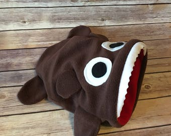 Large Bear Guinea Pig or Hedgehog Snuggle Sack - Fleece Shark Fish Monster - Cuddle Sack Bed - Bonding Bag - Cage Accessory - Ready to Ship