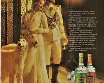 1980 Wolfschmidt Vodka Print Ad Romantic Advertisement Woman Man Czar White Borzoi Wolfhounds Den Bar Lounge Wall Art Gift for Dad