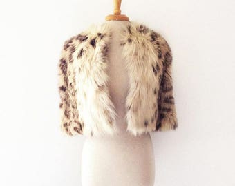 1950s vintage fur (possibly fox fur?) stole with dyed leopard print spots