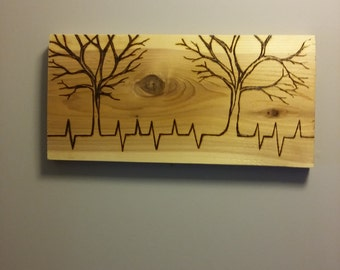 """Two trees """"We are all connected"""" portrait on cedar ready to ship or can be customized made to order"""