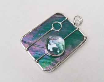Iridescent green stained glass rectangle pendant FREE SHIPPING handmade jewelry necklace