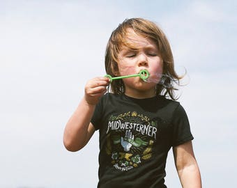Leave No Trace Midwesterner Black Toddler Shirt. Grey Black Kids Triblend Tee. Celebrates the Midwest, workers, outdoors, hops.