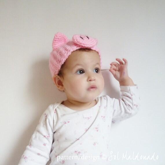 Crochet Headband Pattern Pig PDF - head wrap animal ears Piggy - baby/kids/woman/man 5 sizes - beginner pattern - Instant download