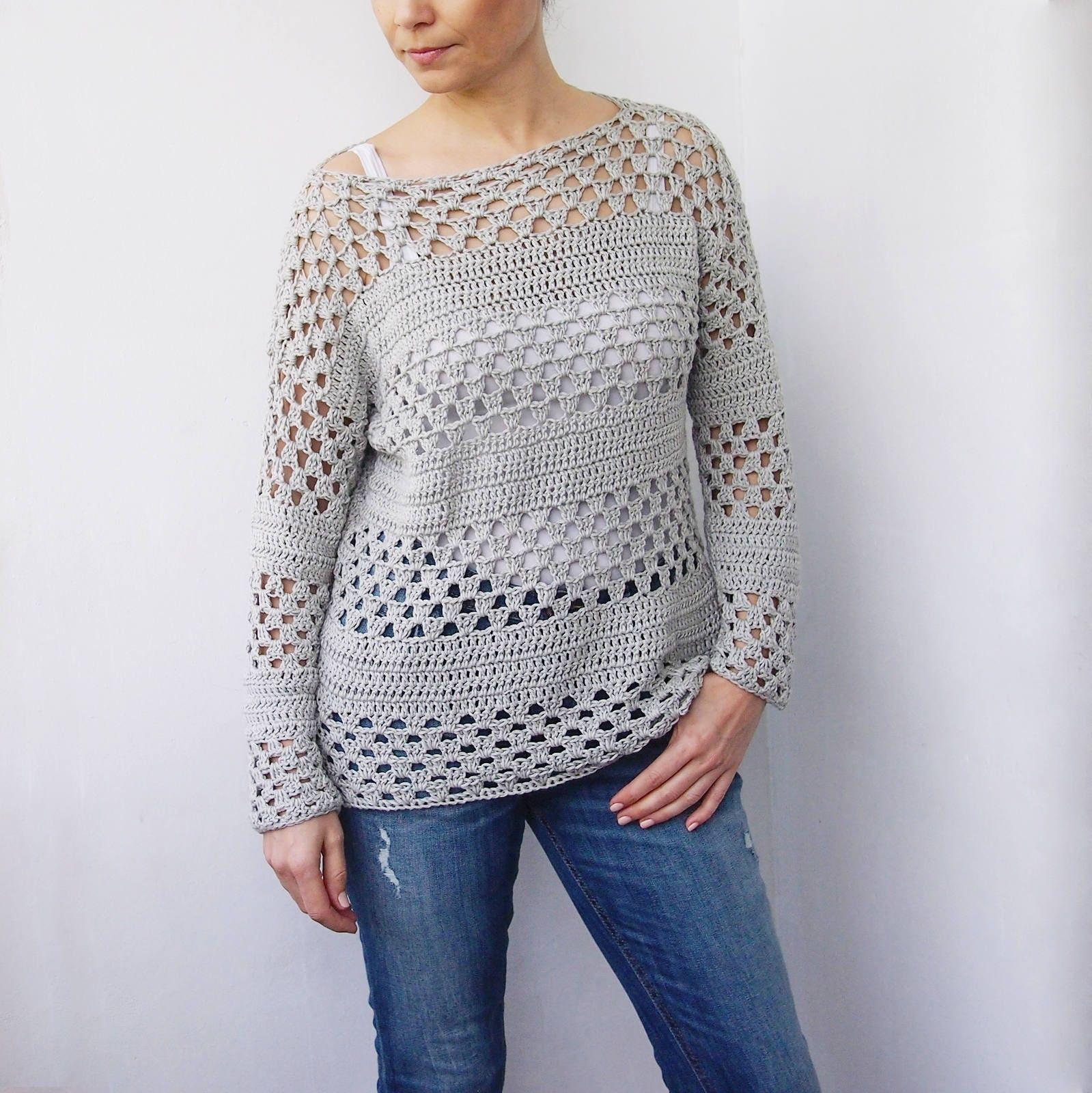Crochet pattern granny stripes women sweater summer cluster zoom bankloansurffo Images