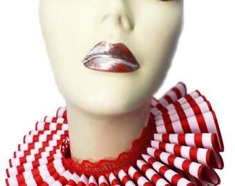 Ruffled Collar Red Stripes Clown Elizabethan Neck Ruff Victorian Steampunk Queen White