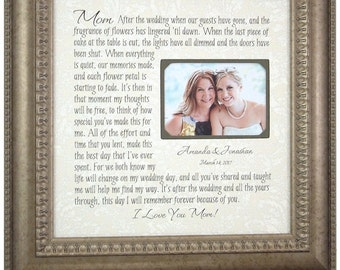 Mother of the Bride Gift, Parents Thank You Mom Dad Wedding Frame, wedding guestbook, unique wedding cake topper, love topper 16 X 16