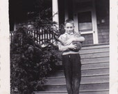 Jame and Precious- 1940s Vintage Photograph- Boy Holding Cat- Tabby Cat- Found Photo- Snapshot- Neighborhood Cat- Paper Ephemera