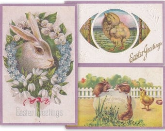 Edwardian Easter Greetings- 1900s Antique Postcards- SET of 3- Easter Bunny- Spring Flowers- Rabbits- Easter Chicks- Paper Ephemera- Used