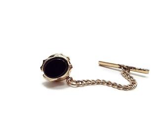 Vintage Black Tie Tack Gold Tone Mens Jewelry Best Man Groom Gift Suit Accessories