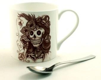 Sugar Skull Mug Fine Bone China Tea or Coffee Day of the Dead Mexico Woman Mask Masquerade  Housewarming Halloween Birthday Present Gift