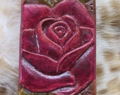 Red rose leather key ring, key fob, rose key chain, key holder, red, custom keychain, custom tooled, tooled leather,