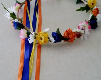 Rainbow Flower crown Bridal handmade wedding Accessories music festivals hair wreath  flower girl halo Fairy circlet blue orange hot pink