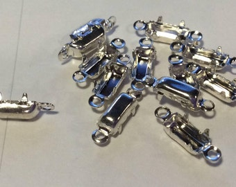 Sterling Silver Plated 7x3mm Baguette Double Connector Settings Qty - 6