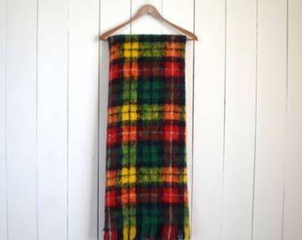 Tartan Plaid Blanket - Vintage Mohair Wool Blanket - Fringe Throw - Buchanan Clan Scottish - 1960s Cabin Couch Blanket - 68 x 51 Inches