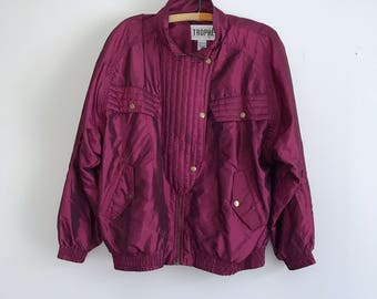 1990s puffy plum purple lined zip jacket M