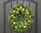 Spring Wreath- Summer Wreath- Grapevine Door Wreath Decor-Yellow Lemons- Boxwood Door Decoration Indoor Outdoor Decor-Kitchen