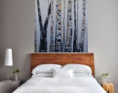 READY TO SHIP: Glint of Winters Night 48 tall 36 wide Large Room Art Wintery Misty Foggy Bare Metallic Aspens by MyImaginationIsYours
