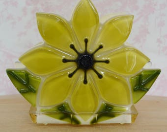 Vintage Resin Flower Napkin or Letter Holder in Shades of Green by Ideal Gifts