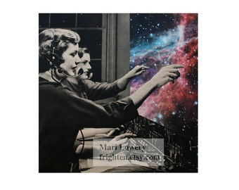 Surreal Space and Stars Art, Retro Paper Collage Print, Telephone Operators