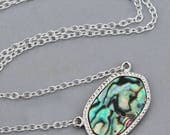 NEW Abalone Shell Pendant Necklace,Silver Bezel Gemstone Necklace,Paua Shell Necklace,Beach,Blue Green Rainbow,Gemstone Pendant,Gift For Her