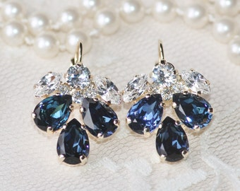 NEW Sapphire Navy Blue Clear Crystal Cluster Earring,Bridal Navy Blue Drop,Teardrop Pear,Cluster Style Setting,Something Blue,Rhinestone