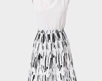 Pleated Skirt, Black and White Skirt, Printed Skirt, Cotton Skirt, Box Pleat Skirt, Skirt with Pockets, Full Skirt, Graphic Skirt, Aline