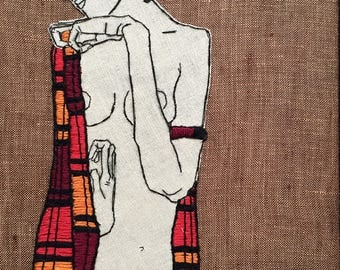 Egon Schiele Art Embroidery - Hand embroidered  framed with Walnut Wooden Frame / Made to order