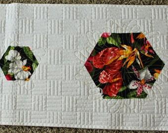 MODERN Hexagon Table Runner.  Bright white.  Tropical Florals.  Fresh Spring Home Decor.