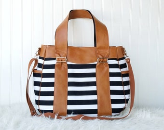 Striped Evelyn Diaper Bag