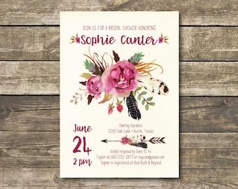 Printed Bridal Shower Invitation - Boho Watercolor Burgundy / Marsala / Wine Rustic Wedding - Bohemian Bridal Lunch - Bridal Tea