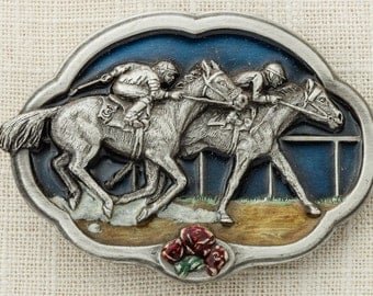 Horse Racing Belt Buckle Enamel Derby Jockey Equestrian Race Bergamot Brass Works 1985 Made In USA Vintage Belt Buckle 16B