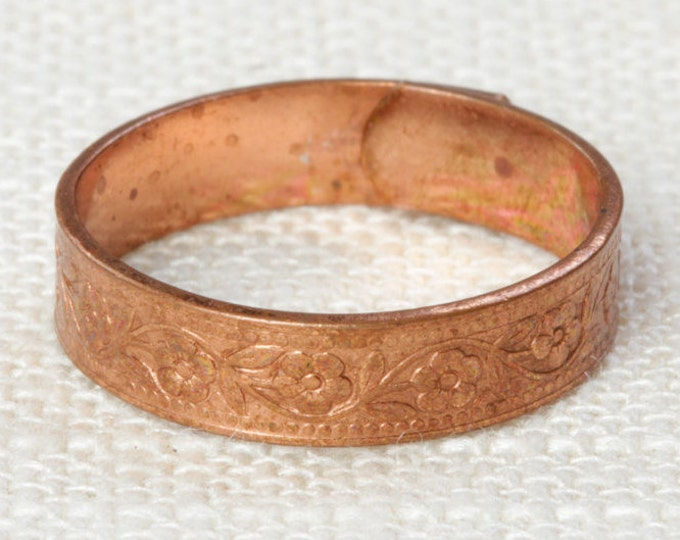Copper Ring Floral Etched Vintage Metal Ring | Copper Tone Metal Band Womens Adjustable Size 5mm Wide 16R