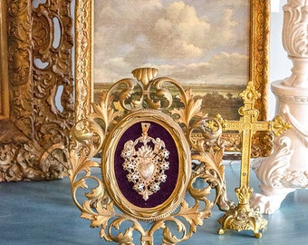 Vintage Ex Voto Sacred Heart, Framed in Antique Ornate Metal Frame, Purple Velvet Backing